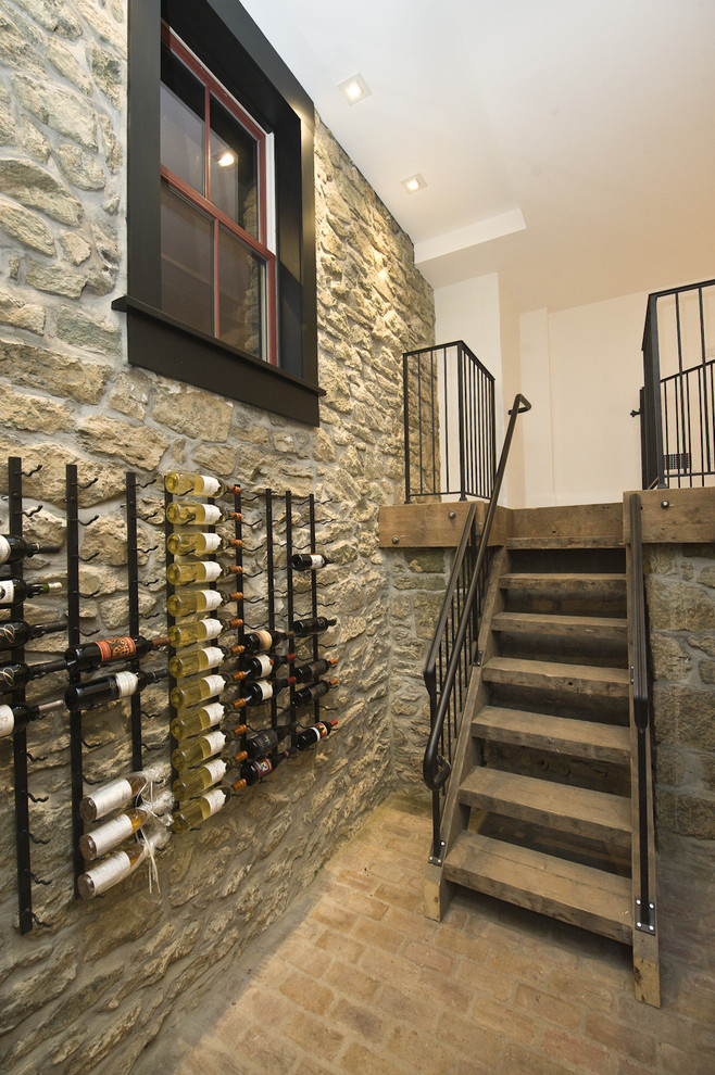 Wall Mount Wine Rack Wine Cellar Traditional with Basement Brick Floor Cellar Dark Trimmed Windows Historic Historic Home Iron Railing