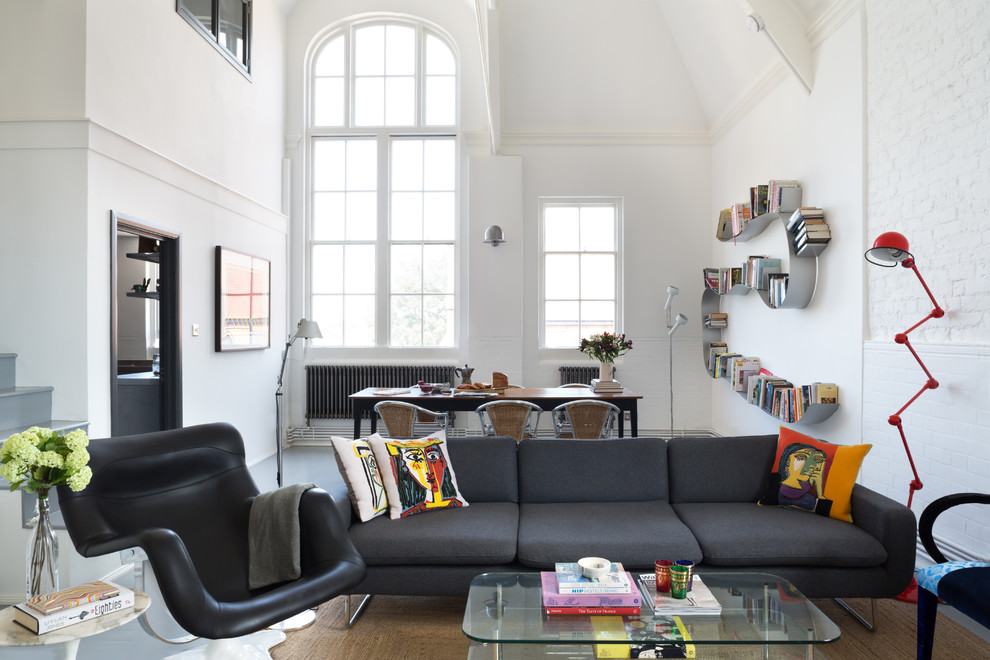 Wall Mounted Bookcase Living Room Industrial with Arch Window Black Armchair Glass Coffee Table Grey Sofa Open Plan Living