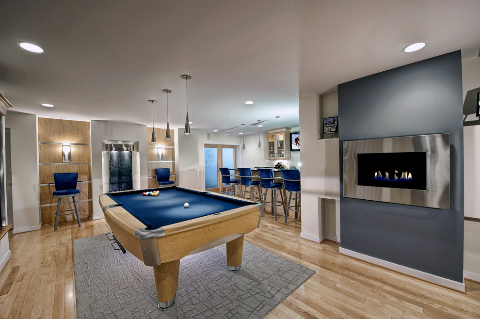 Wall Mounted Fireplace Basement Contemporary with Bar Seating Basement Bar Billiard Room Blue Contemporary Basement Contemporary Fireplace Contemporary
