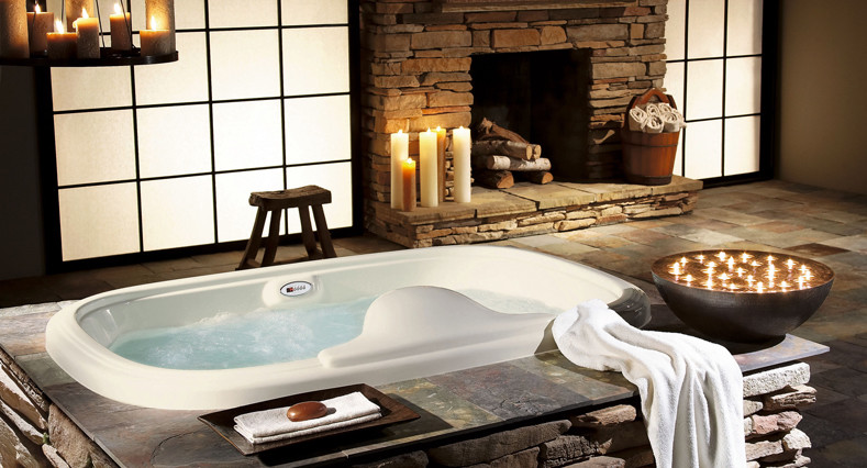 Wall Mounted Fireplace Bathroom with None