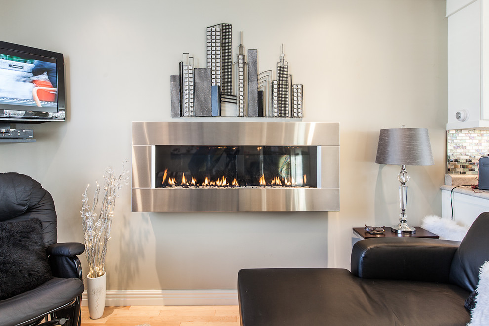 Wall Mounted Fireplace Living Room Contemporary with None