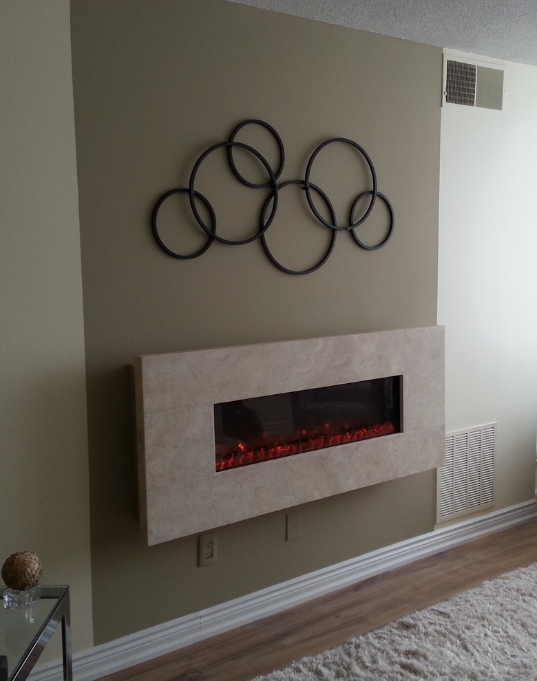 Wall Mounted Fireplace Living Room Transitional with Electric Fireplaces Fireplaces Travertine Wall Mounted Fireplaces