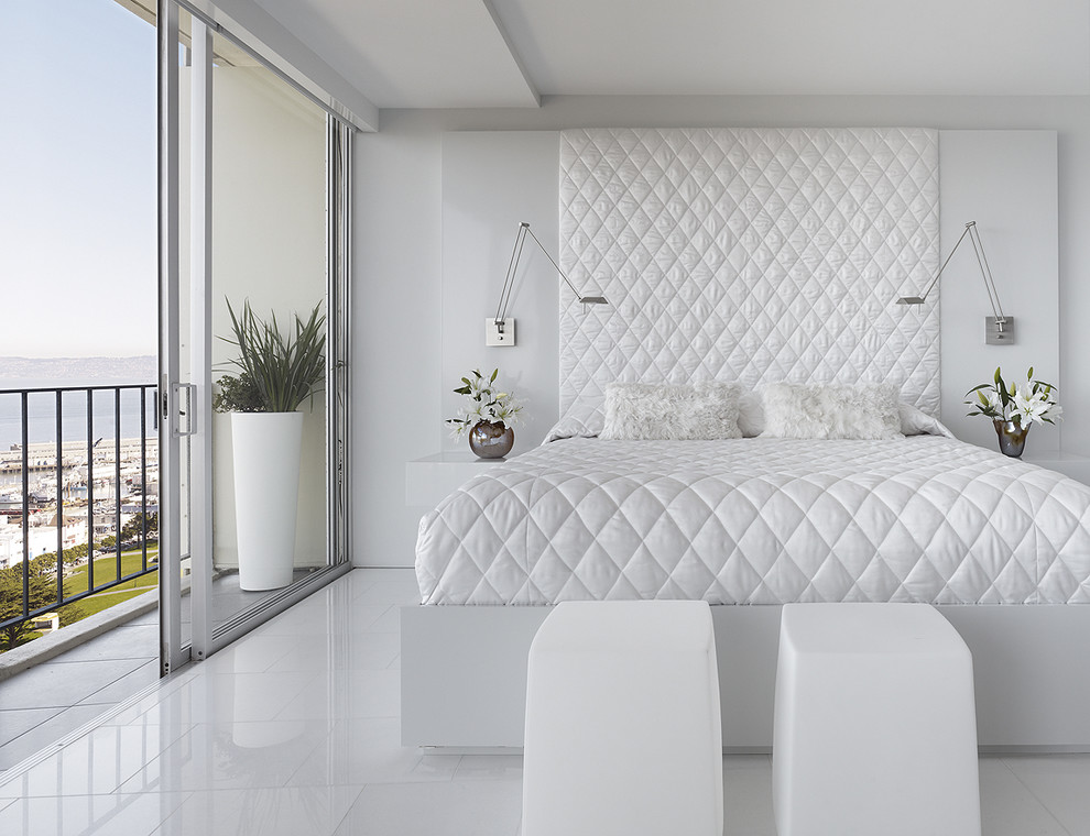 Wall Mounted Headboards Bedroom Modern with Balcony Bedside Table Floral Arrangement Foot of the Bed Furry Pillows Glass