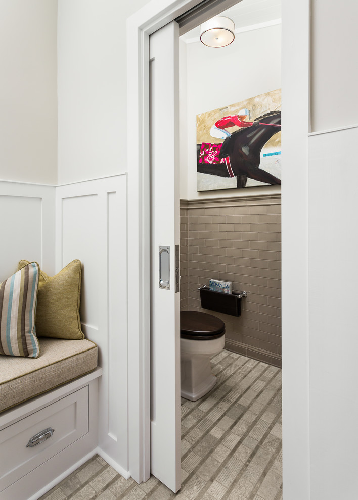 Wall Mounted Magazine Rack Bathroom Transitional with Beadboard Ceiling Bench Seating Black Toilet Lid Black Toilet Seat Built In