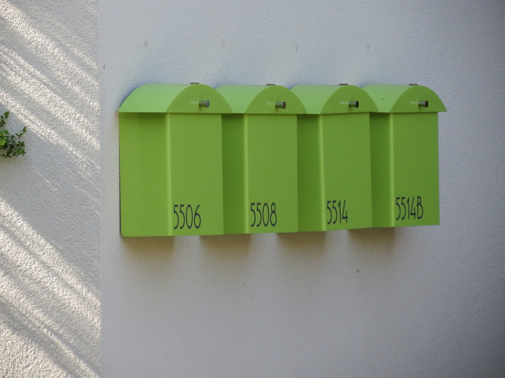 Wall Mounted Mailbox Entry Contemporary with Chartreuse Mailbox Condo Mailboxes Condominium Modern Mailbox Monet Mailbox Multifamily Housing Wall