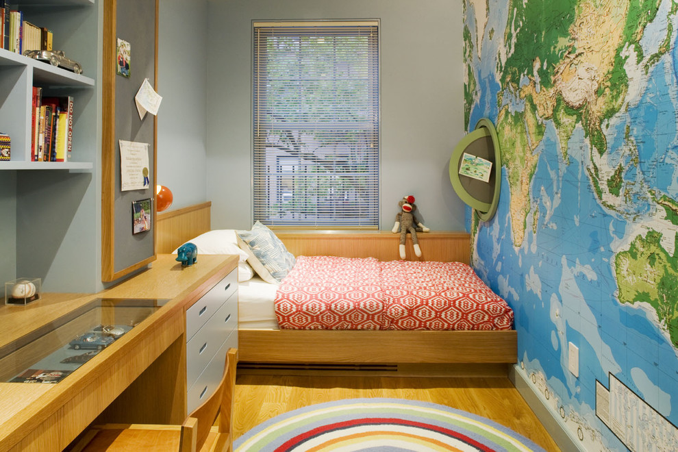 Wall Mounted Shelves Kids Contemporary with Bookcase Built Ins Bulletin Board Desk Grey Wall Map Mural Nautical Platform
