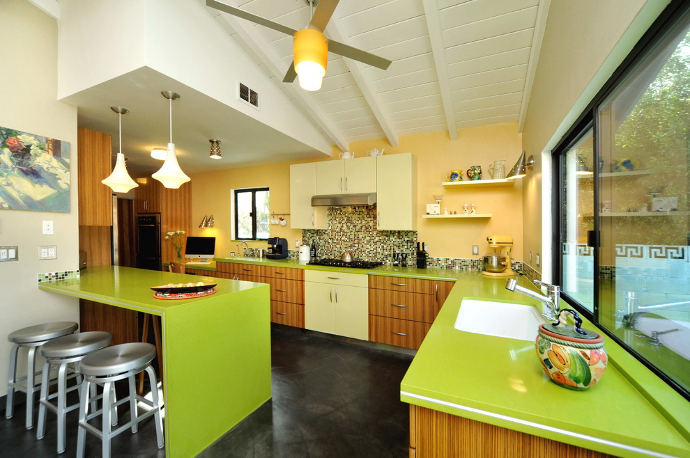 Wall Mounted Shelving Kitchen Contemporary with Apple Martini Caesarstone Breakfast Bar Colorful Kitchen Concrete Floor Dark Floor Eat