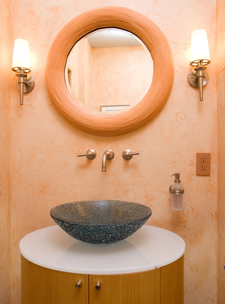 Wall Mounted Soap Dispenser Bathroom Transitional with Faux Finish Frosted Glass Guest Bath Half Bath Peach Wall Round Wall