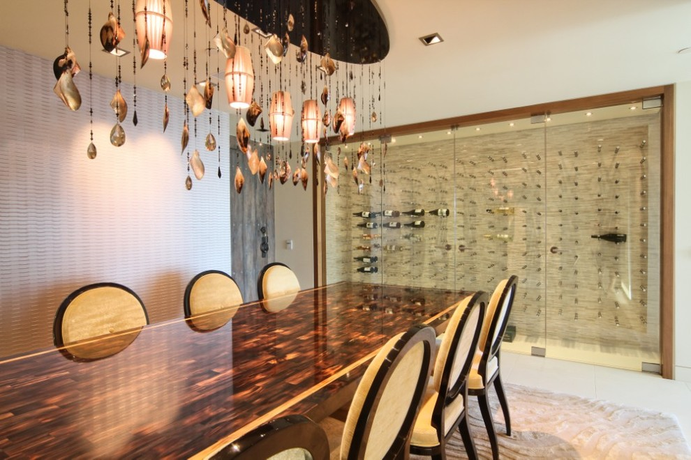 Wall Mounted Wine Racks Wine Cellar Modern with Beige Dining Chairs Glass Doors Glass Wine Cellar Large Chandelier Large Dining
