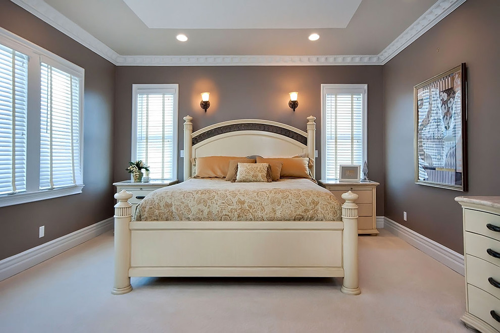 wall sconces with switch Bedroom Contemporary with brown carpeting carved wood bed dentil molding night stands recessed lights tray