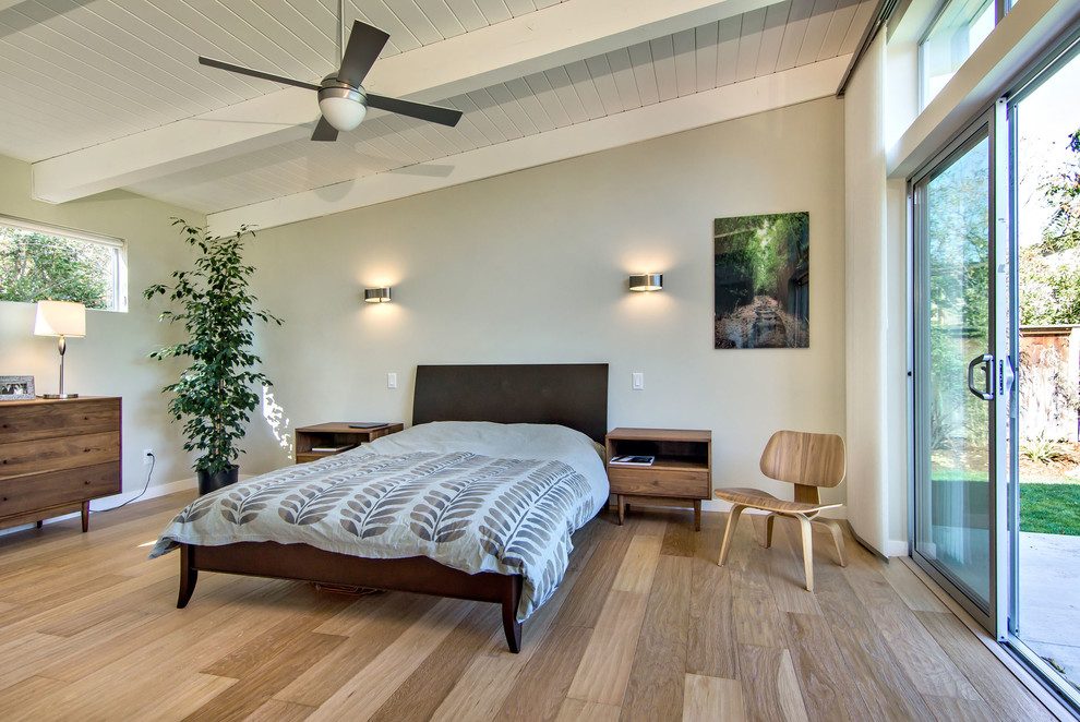 Wall Sconces with Switch Bedroom Midcentury with Ceiling Fan Dark Wood Bed Floor to Ceiling Windows Gray Wall Master Bedroom Natural