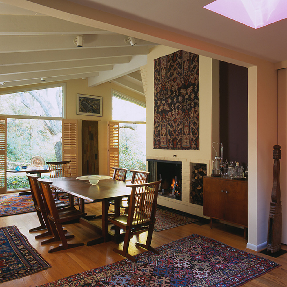 wall tapestry Dining Room Midcentury with barware brick fireplace ...