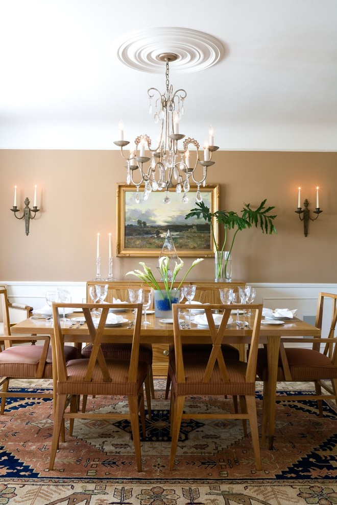 Wallace Silversmiths Dining Room Traditional with Area Rug Artwork Candles Ceiling Medallion Chandelier Framed Art Neutral No Crown