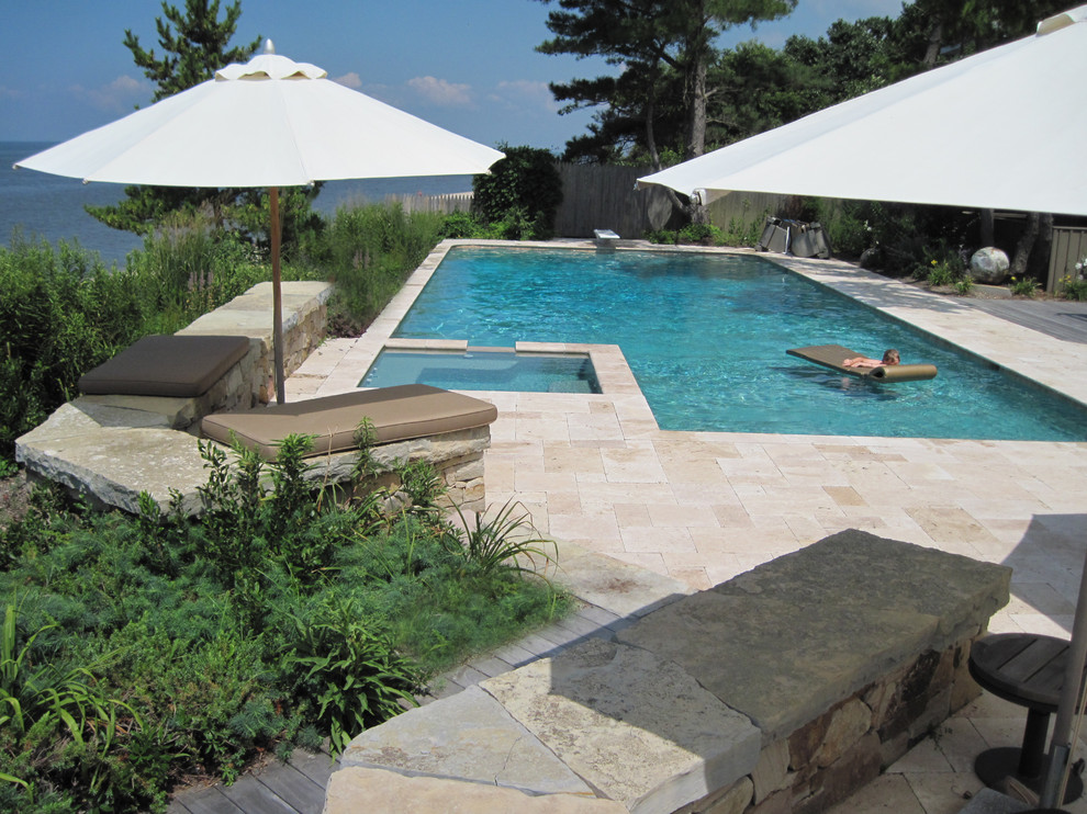 Wallace Silversmiths Pool Contemporary with Bench Diving Board Fence Hot Tub Landscape Design Ocean View Patio Patios