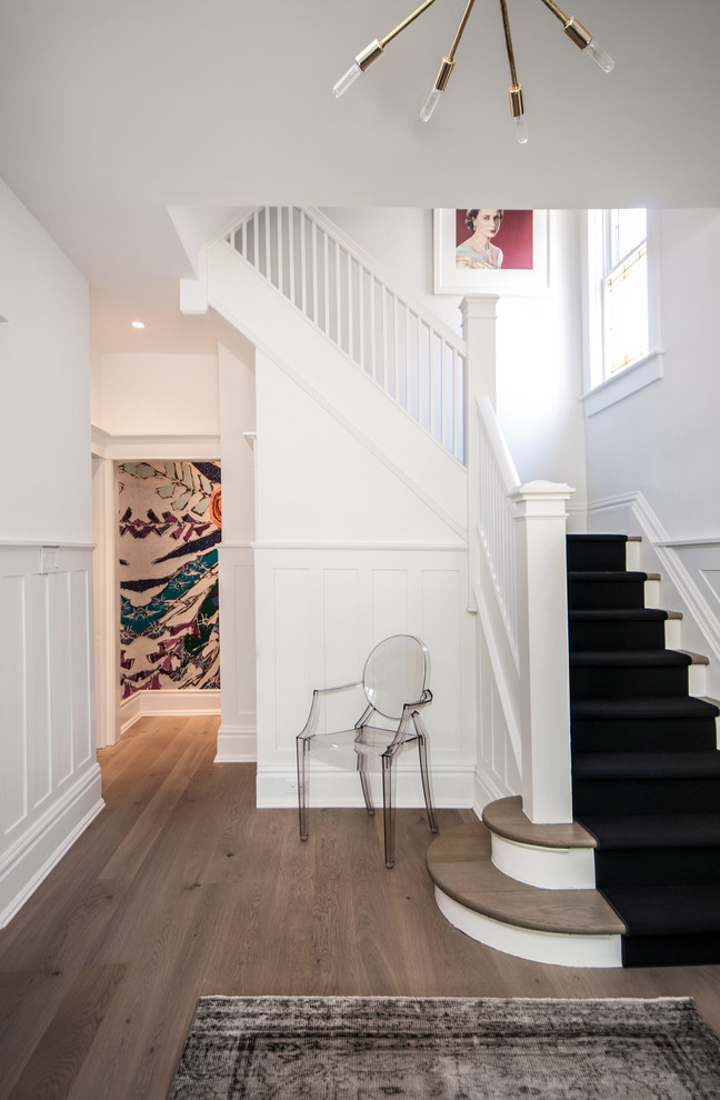 Wallace Silversmiths Staircase Contemporary with Antique Area Rug Black and White Bleached Oak Flooring Bullnose Cabinetry Closed