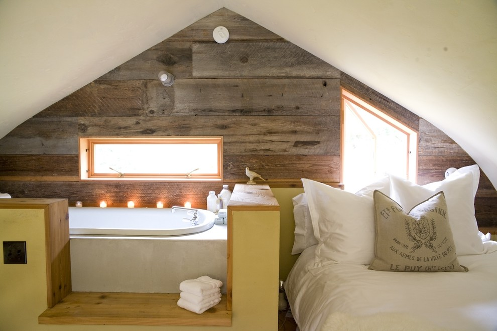 Warmly Yours Bedroom Farmhouse with Alcove Bedding Dividing Wall en Suite Garden Tub Ledge Nook Pillow Platform