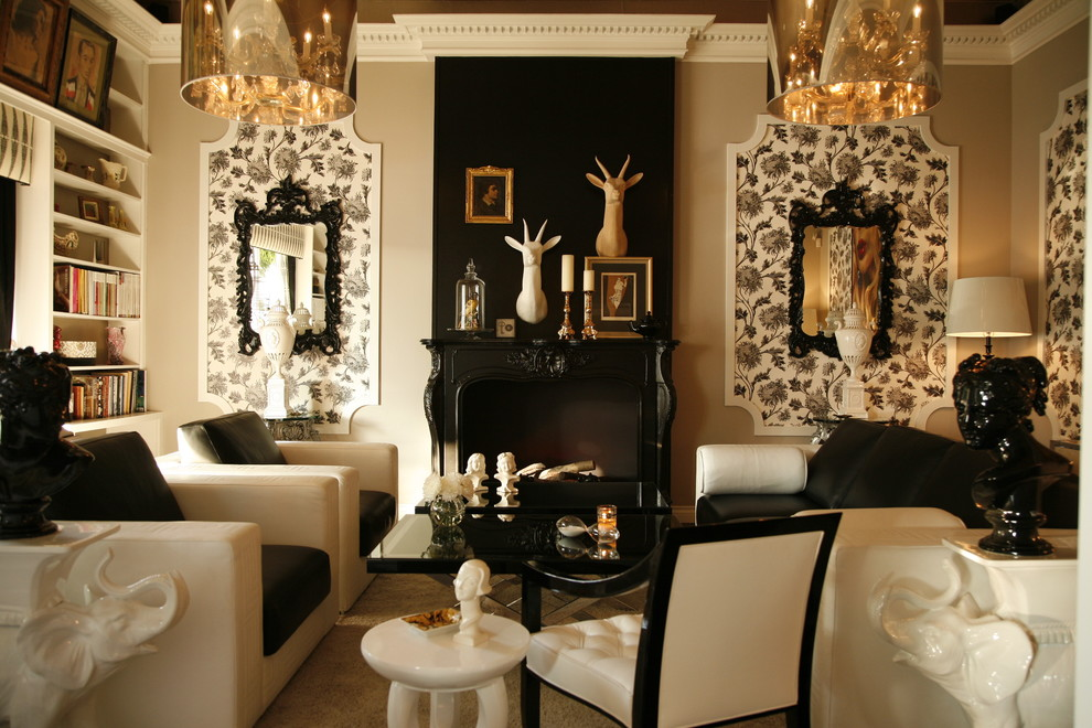 Warmly Yours Living Room Contemporary with Animal Head Black Chandelier Crown Molding Gold Molding Tufted Wallpaper White