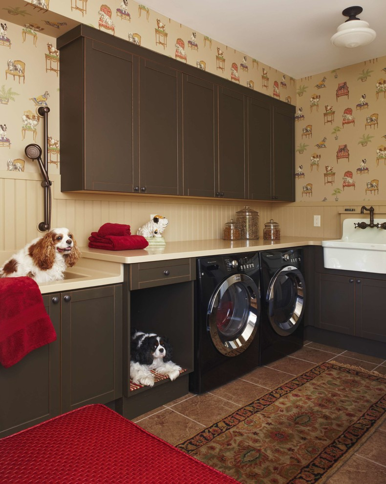 Washable Dog Bed Laundry Room Traditional with Beige Beadboard Brown Cabinets Brown Tile Floor Built in Dog Bath Dog Bath