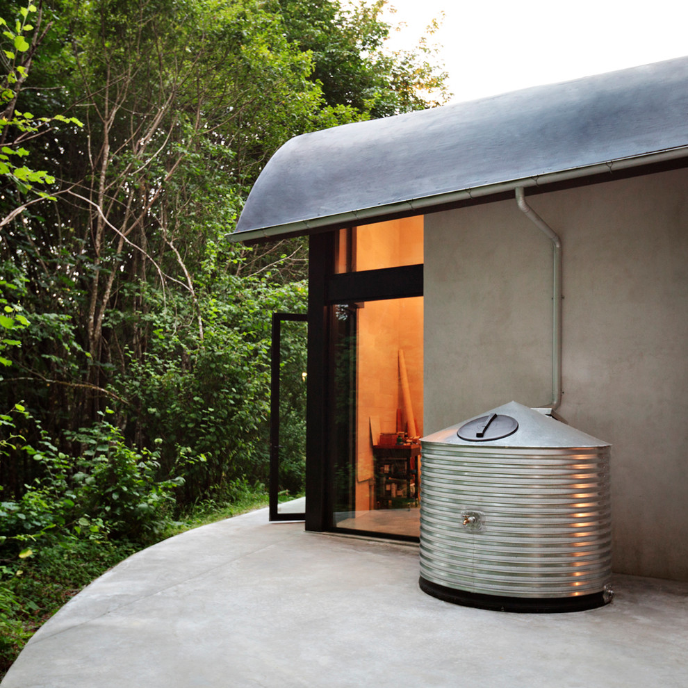 Water Hose Holder Exterior Contemporary with Aluminum Windows Cistern Concrete Patio Curved Roof Half Round Gutter Membrane Roof