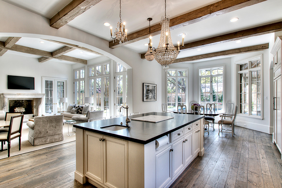 Water Hose Holder Kitchen Traditional with Archway Bay Window Casement Windows Ceiling Lighting Crystal Chandelier Exposed Beams Paper