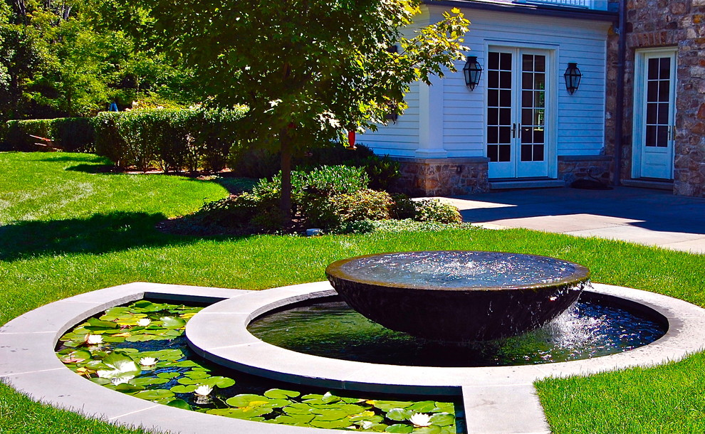 Water Rowing Machine Landscape Traditional with Bowl Fountain Fountain Border Lily Pads Outdoor Lanterns Pond Stone Exterior Stone