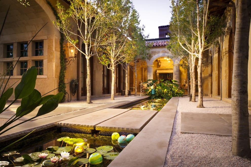 Water Rowing Machine Patio Mediterranean with Alle Aquatic Garden Bridge Custom Pool Dallas Double Row of Trees Elegant