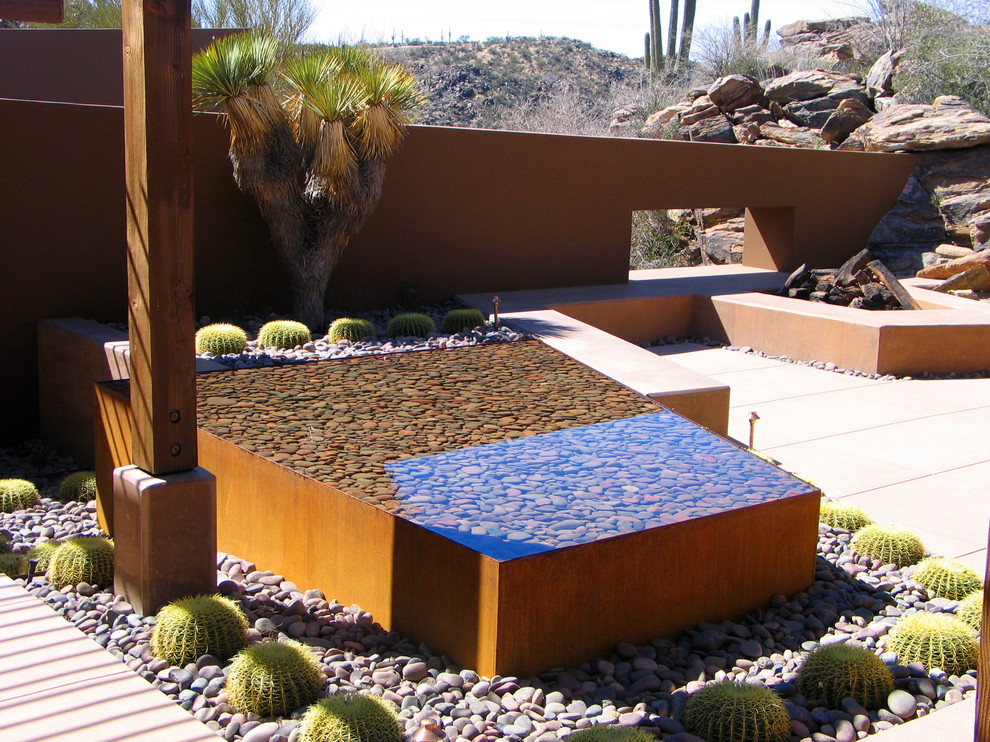 Waterbeds for Sale Patio Southwestern with Beams Cactus Cast in Place Concrete Concrete Patio Corten Steel Cortten Fountain