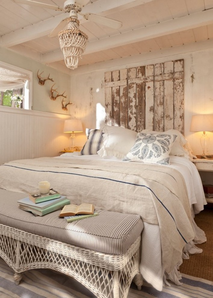 Waterproof Picnic Blanket Bedroom Shabby Chic with Bedroom Ceiling Fan Cottage Exposed Beams Homemade Headboard Layered Rugs Linen Neutral