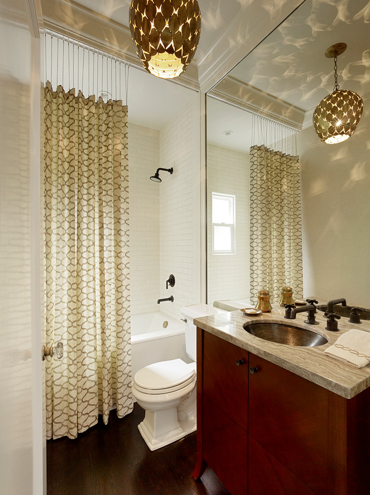 Waverly Curtains Bathroom Transitional with Contemporary Lighting Flat Panel Cabinets Gray Countertop Patterned Shower Curtain Shower Above
