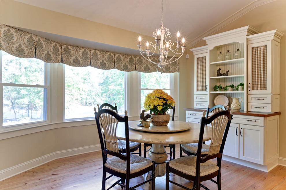 Waverly Valances Dining Room Farmhouse with Antique White Chandelier Columns Curtain Panels Custom Farmhouse Glazed Granite Hardwood Floors
