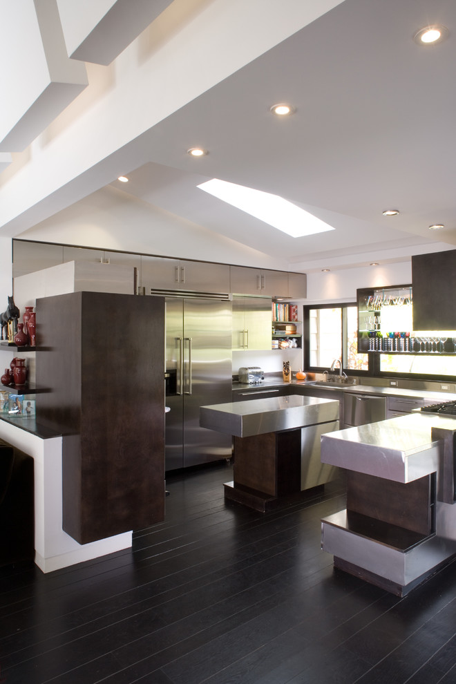 Wayfair Rugs Kitchen Contemporary with Articulated Ceilings Dark Wood Cabinets Dark Wood Floors Glass Display Shelves Skylight