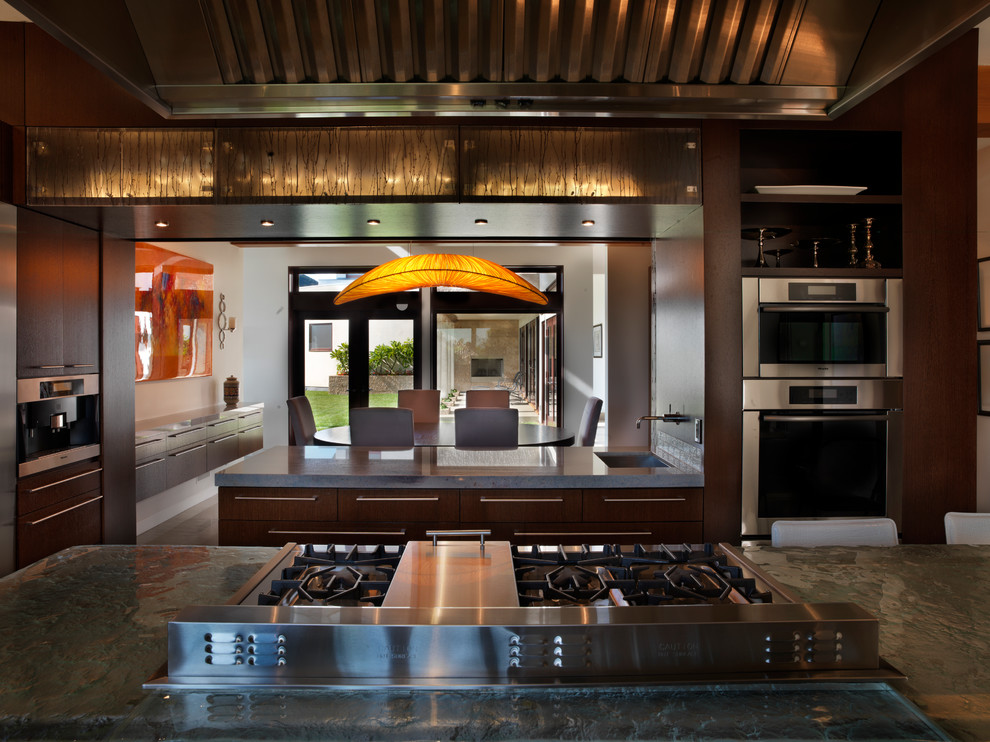 Wayne Sump Pump Kitchen Contemporary with Backlit Cabinets Custom Hood Dining Room Glowing Pendant Recycled Glass Stainless Hood