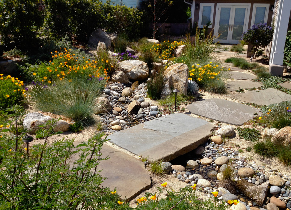 Wayne Sump Pump Landscape Contemporary with Bridge Dry Creek Dry Riverbed Garden Lighting Low Water Natives Path Path Lighting