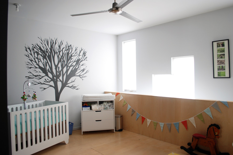 Westinghouse Lighting Nursery Modern with Ceiling Fan Changing Table Crib Grey Walls Loft Minimal Neutral Colors Nursery
