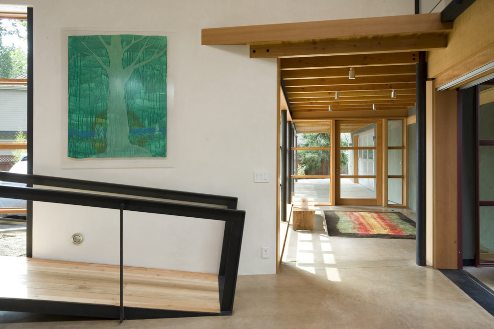 Wheelchairs for Sale Hall Contemporary with Artwork Concrete Floor Entrance Entry Front Door Glass Wall Great Room Loft