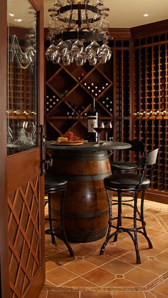 Whiskey Glass Set Wine Cellar Traditional with Bar Stools Tasting Room Wine Barrel Wine Glasses Wood and Glass Door