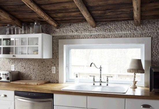 Whistling Tea Kettle Kitchen Contemporary with Back Splash Kitchen Pebbles Tan