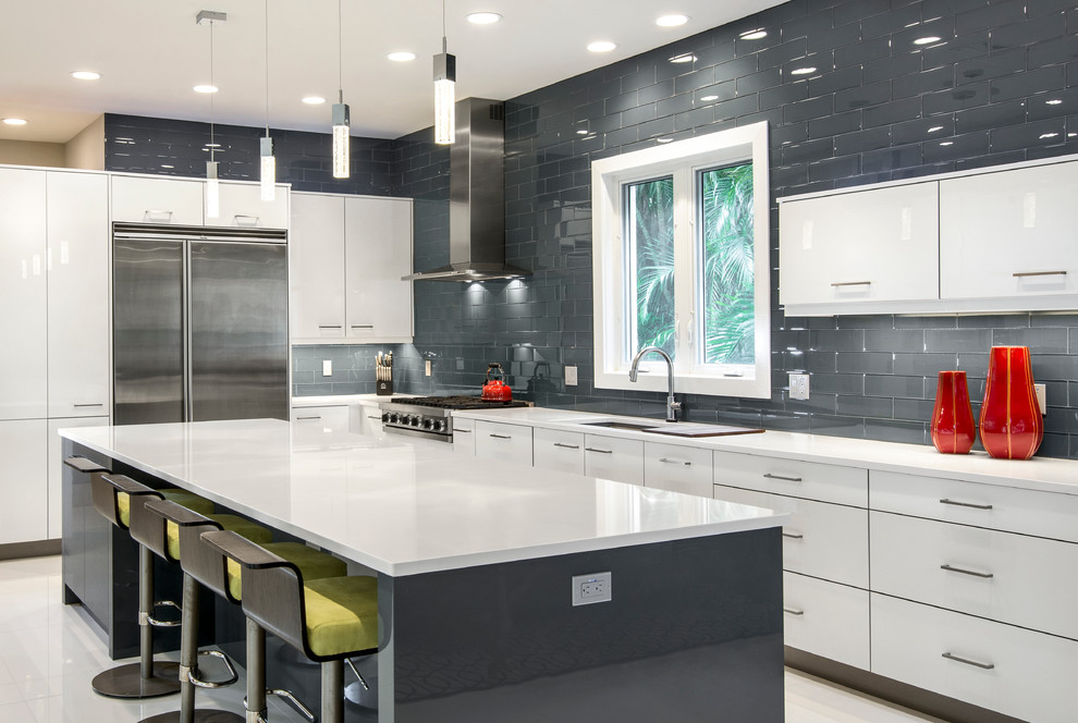 Whistling Tea Kettle Kitchen Contemporary with Gray Kitchen Island Gray Subway Tile Wall Gray Tile Wall Green Bar