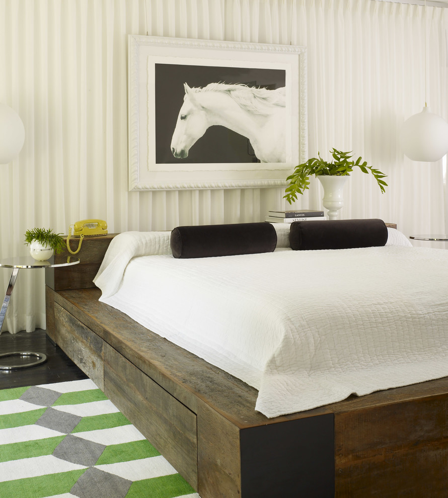 White Bedspread Bedroom Contemporary with Area Rug Bedframe Black Pillows Color Pop Contemporary Curtain Wall Floor Length