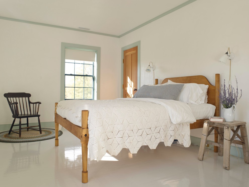 White Bedspread Bedroom Farmhouse with Bare Walls Charming Farrow and Ball Paint Fir Door Green Trim Guest