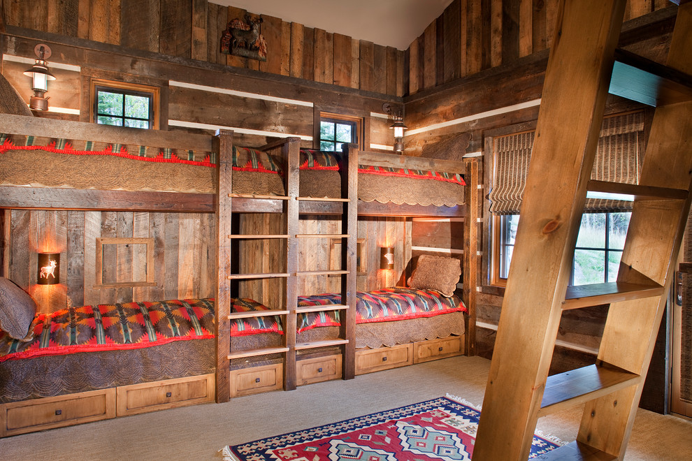 White Bunk Beds with Stairs Kids Rustic with American Indian Prints Area Rug Blankets Built in Bunk Beds Bunk Beds Bunk