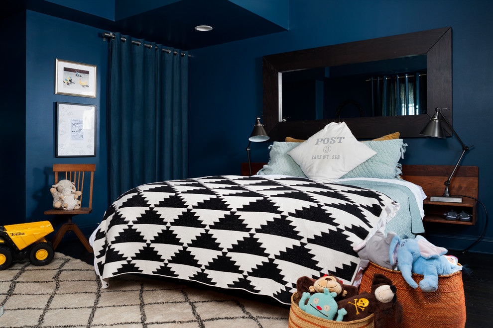 White Bunk Beds with Stairs Kids with Black and White Bedspred Black Framed Mirror Blue and Black Dark Blue