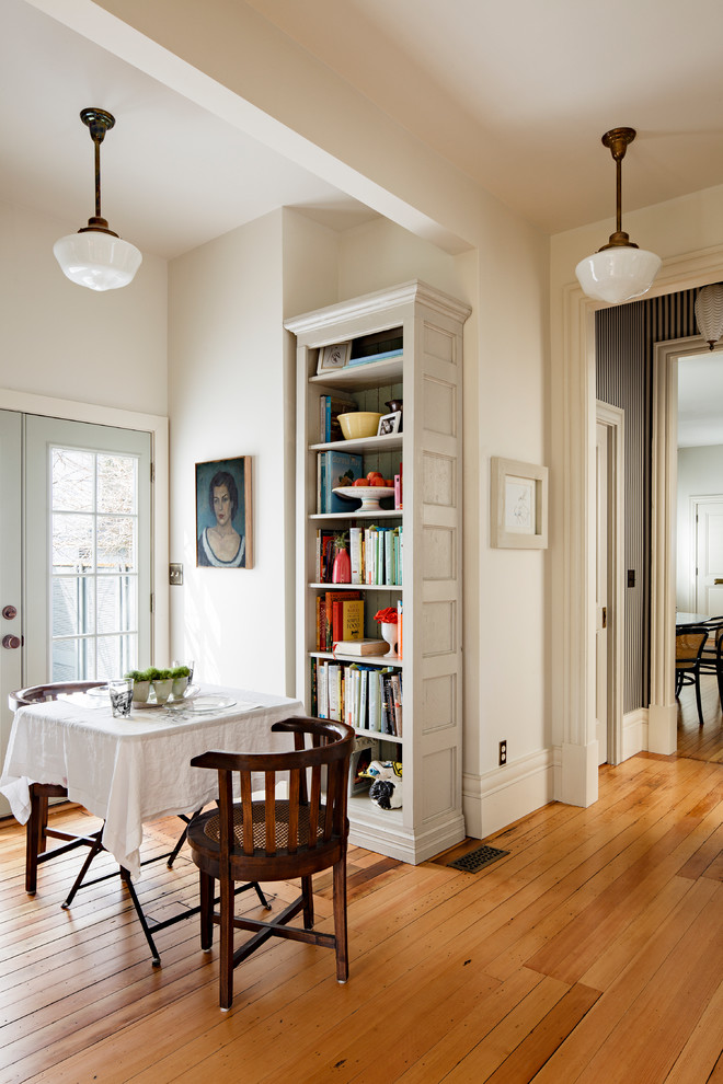 White Corner Bookcase Dining Room Victorian with Beige Bookcase Beige Bookshelf Beige Ceiling Beige Molding Beige Wall Book Storage