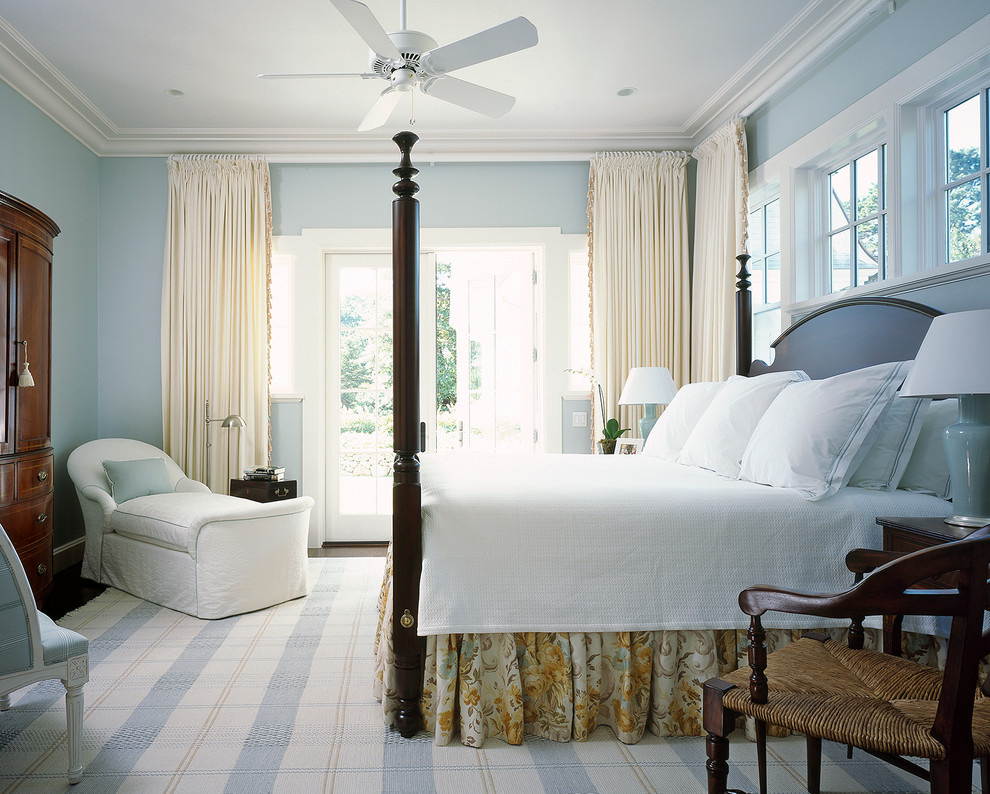 white coverlet Bedroom Beach with antique dresser beach blue blue plaid rug blue walls clerestory windows coastal