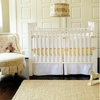 White Crib Skirt Bedroom Traditional with None