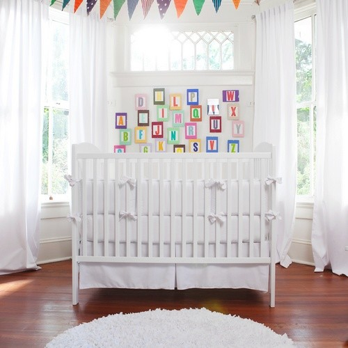 white crib skirt Kids Traditional with none