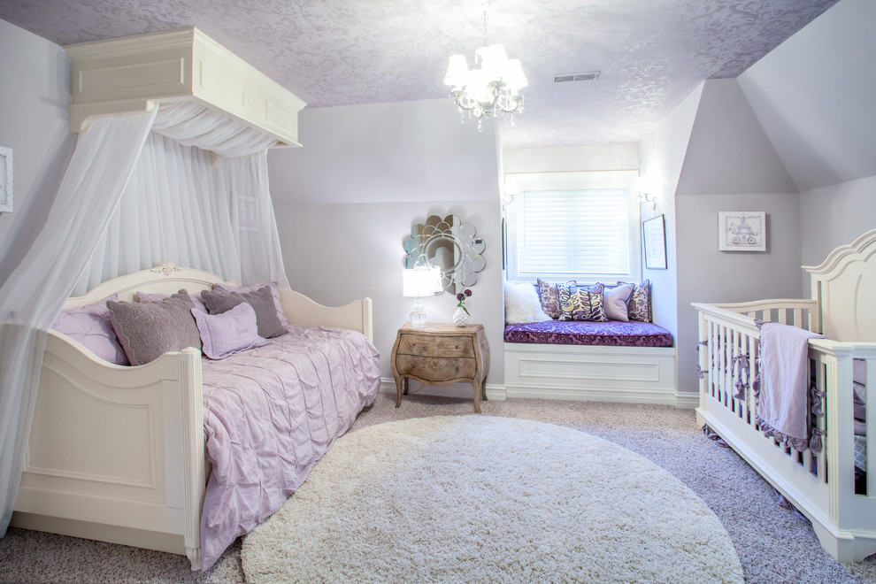 White Daybed Kids Traditional with Bed Canopy Feminine Girls Bedroom Girls Nursery Lavender and White Lavender Duvet