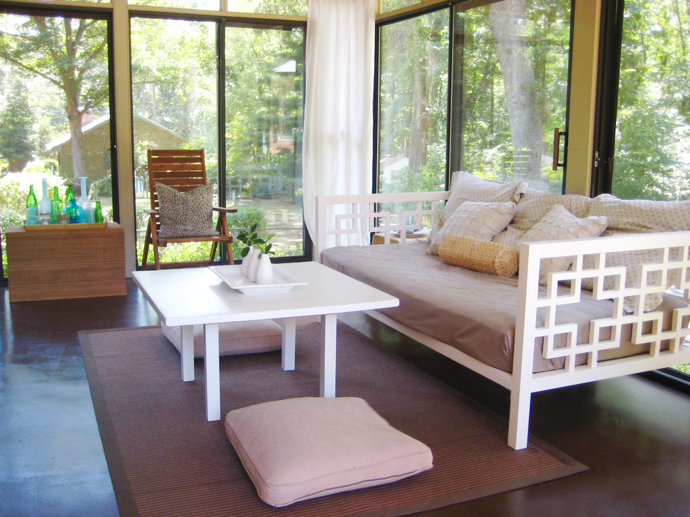 white daybed Porch Contemporary with sunroom