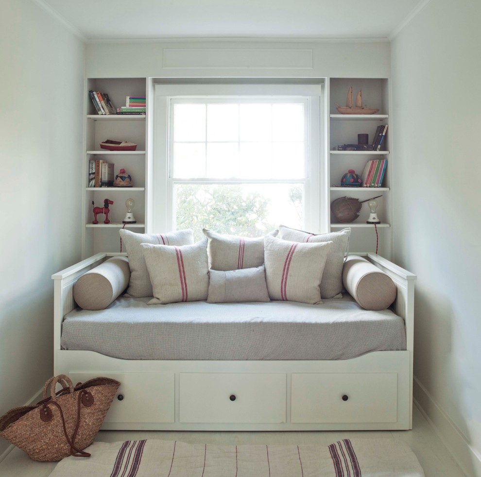 White Daybed with Trundle Bedroom Modern with Bolsters Books Built in Shelves Burlap Cottage Day Bed Double Hung Windows Flat