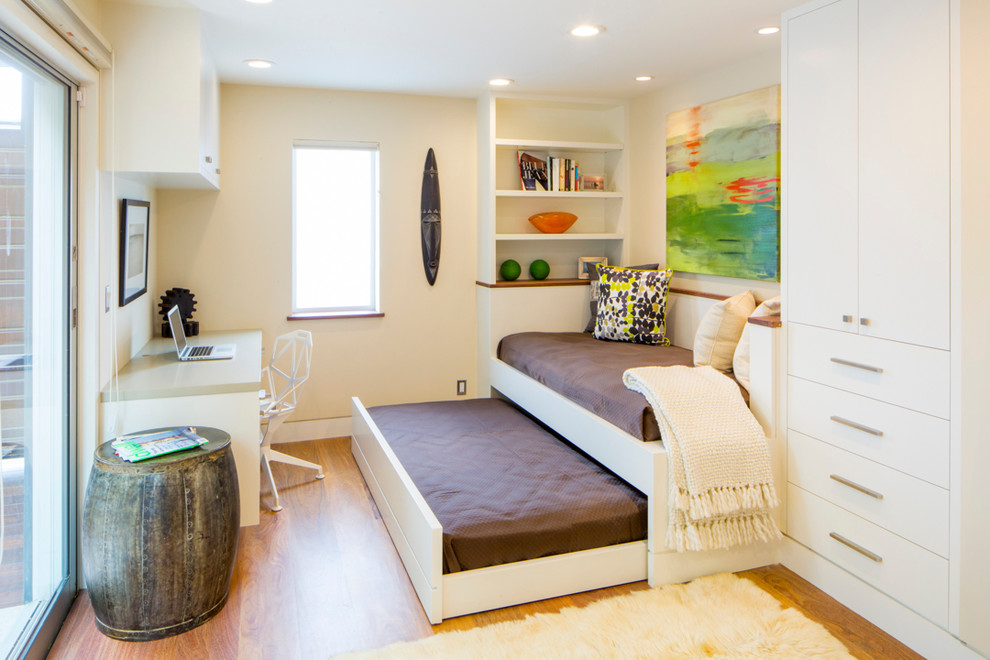 White Daybed with Trundle Home Office Contemporary with Barrel Side Table Built in Shelves Colorful Artwork Pull Out Bed Recessed Lighting